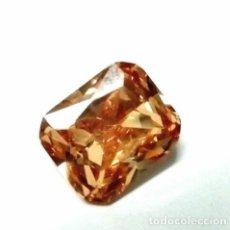 Coleccionismo de gemas: EXTRAORDINARIO CIRCÓN NEÓN NATURAL COLOR CHAMPAÑA TALLA ESMERALDA CON 9.30 CT.. Lote 182368581