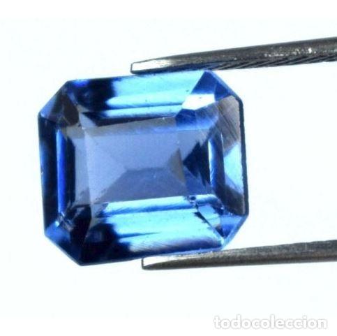 Coleccionismo de gemas: Bonita Tanzanita Sintética talla Esmeralda de 6.60 Ct. Certificada AGI. - Foto 2 - 182422136