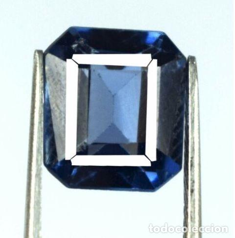 Coleccionismo de gemas: Bonita Tanzanita Sintética talla Esmeralda de 6.60 Ct. Certificada AGI. - Foto 3 - 182422136