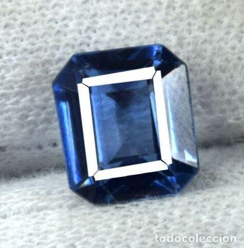 Coleccionismo de gemas: Bonita Tanzanita Sintética talla Esmeralda de 6.60 Ct. Certificada AGI. - Foto 4 - 182422136