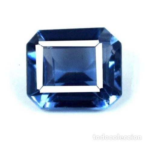 Coleccionismo de gemas: Bonita Tanzanita Sintética talla Esmeralda de 6.60 Ct. Certificada AGI. - Foto 5 - 182422136
