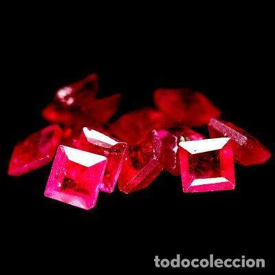 RUBI CUADRADO 3,0 X 3,0 MM. (Coleccionismo - Mineralogía - Gemas)
