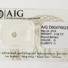 Coleccionismo de gemas: 0.38 CTS DIAMANTE NATURAL COLOR BLANCO. EXCELENTE CALIDAD. CERTIFICADO AIG. Lote 140433322