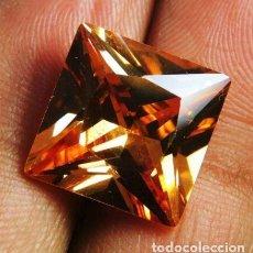 Coleccionismo de gemas: CIRCÓN NATURAL PRINCESA CHAMPAÑA DE CAMBOYA. TALLA CUADRADA CON 21.5 CT.. Lote 189124231