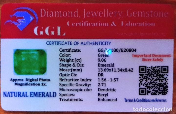 Coleccionismo de gemas: Esmeralda / esmeralda natural no tratada, 9.06 Ct + Certificado - Foto 5 - 189242903