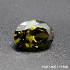 Coleccionismo de gemas: ZAFIRO CHATHAM VERDE OLIVA, OVAL, SIN TRATAMIENTO, DE BRASIL CON 13.65 CT.. Lote 190292946