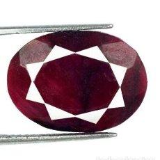 Coleccionismo de gemas: BONITO RUBÍ ROJO-GRANATE NATURAL DE SUDÁFRICA TALLA OVAL CON 15.10 CT. CERTIFICADO AGI. Lote 191360807