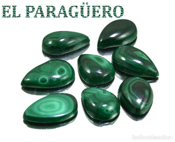 LOTE DE 8 MALAQUITAS CON UN TOTAL DE 114,60 KILATES - MIDE CADA UNA APROXIMADAMENTE 2,2 X 1,4 CM Nº3 (Coleccionismo - Mineralogía - Gemas)