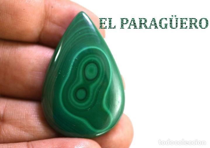MALAQUITA LAGRIMA DE 72 KILATES - MIDE 4 X 2,50 CENTIMETROS - Nº4 (Coleccionismo - Mineralogía - Gemas)