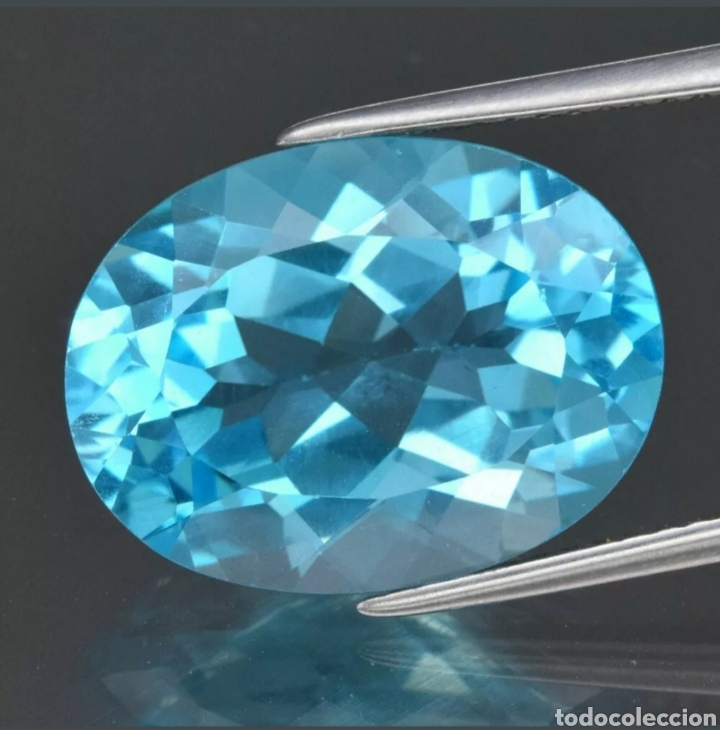 GEMAS MARAVILLOSO! 12.12CT 16X12MM IF OVAL NATURAL SKY BLUE TOPAZ. (Coleccionismo - Mineralogía - Gemas)
