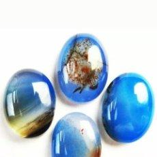 Coleccionismo de gemas: 4 ÁGATAS ONYX NATURALES AZULES. Lote 194496706
