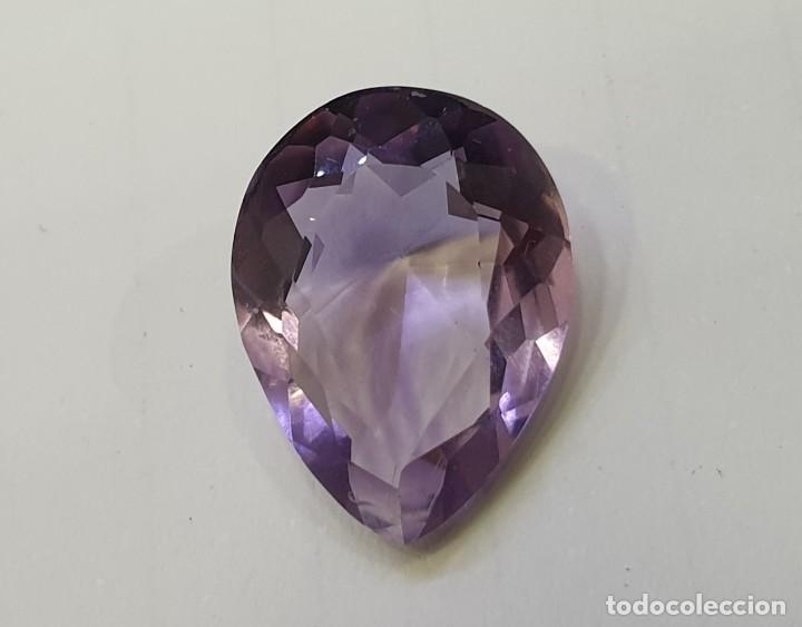 AMATISTA GEMA TALLA PERA (Coleccionismo - Mineralogía - Gemas)