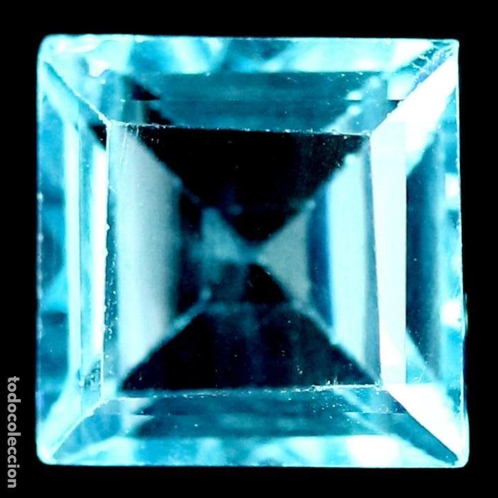 TOPACIO AZUL SUIZO 7,0 X 7,0 MM. (Coleccionismo - Mineralogía - Gemas)