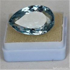 Collezionismo di gemme: AGUAMARINA NATURAL CORTE PERA 22.00.CT + CERTIFICADO - TRASLUCIDA 22.80 X 16.15 X 11.20 (MM). Lote 197660715