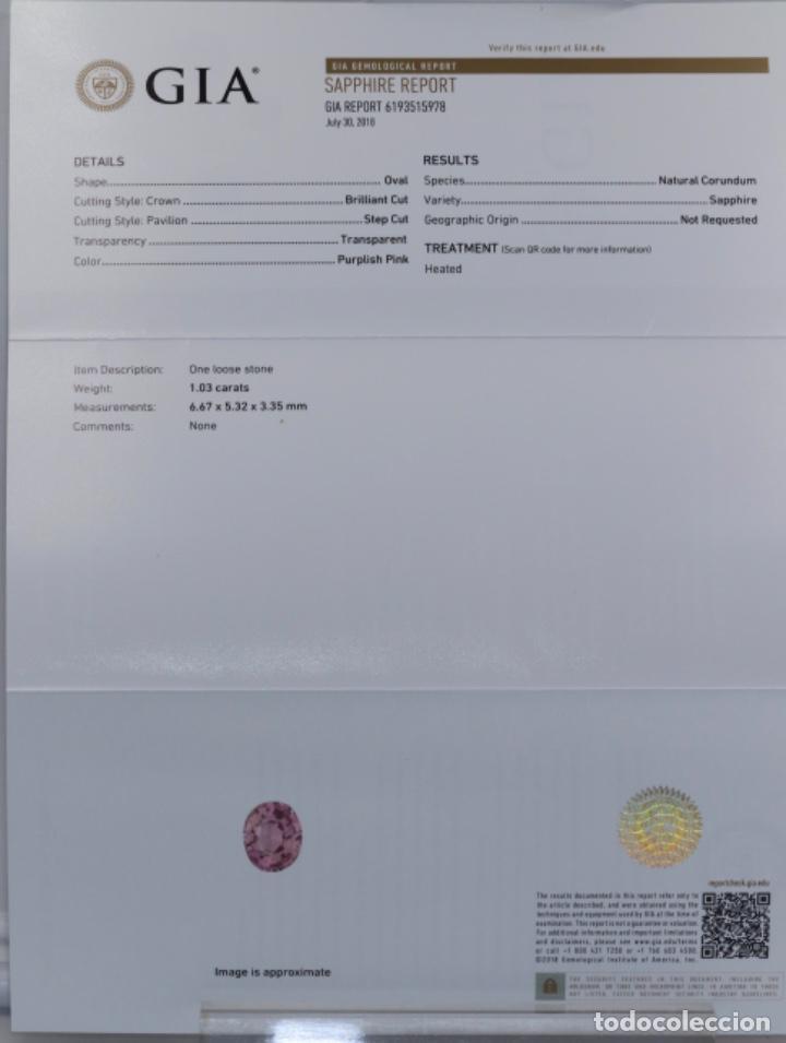 Coleccionismo de gemas: ZAFIRO, PÚRPURA ROSÁCEO, GIA CERTIFICADO - Foto 8 - 158246650