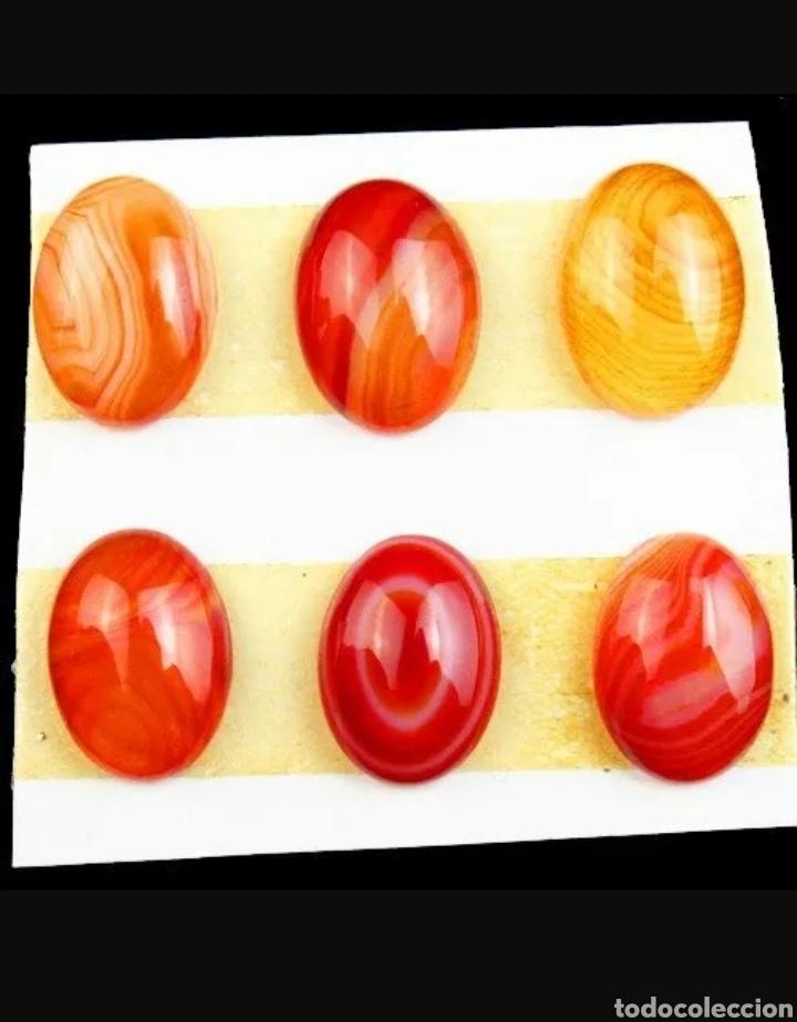 LOTE DE 6 ONYX ÁGATAS NATURALES A RAYAS (Coleccionismo - Mineralogía - Gemas)