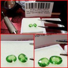 Coleccionismo de gemas: PAREJA OVAL GRANATES TSAVORITA TANZANIA 0.87 CTS. Lote 203204232