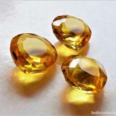 Coleccionismo de gemas: TRES CITRINOS NATURAL 7.66.CTS TOTAL - 13 A 15.MM DIAMETRO CADA UNO. Lote 204725838