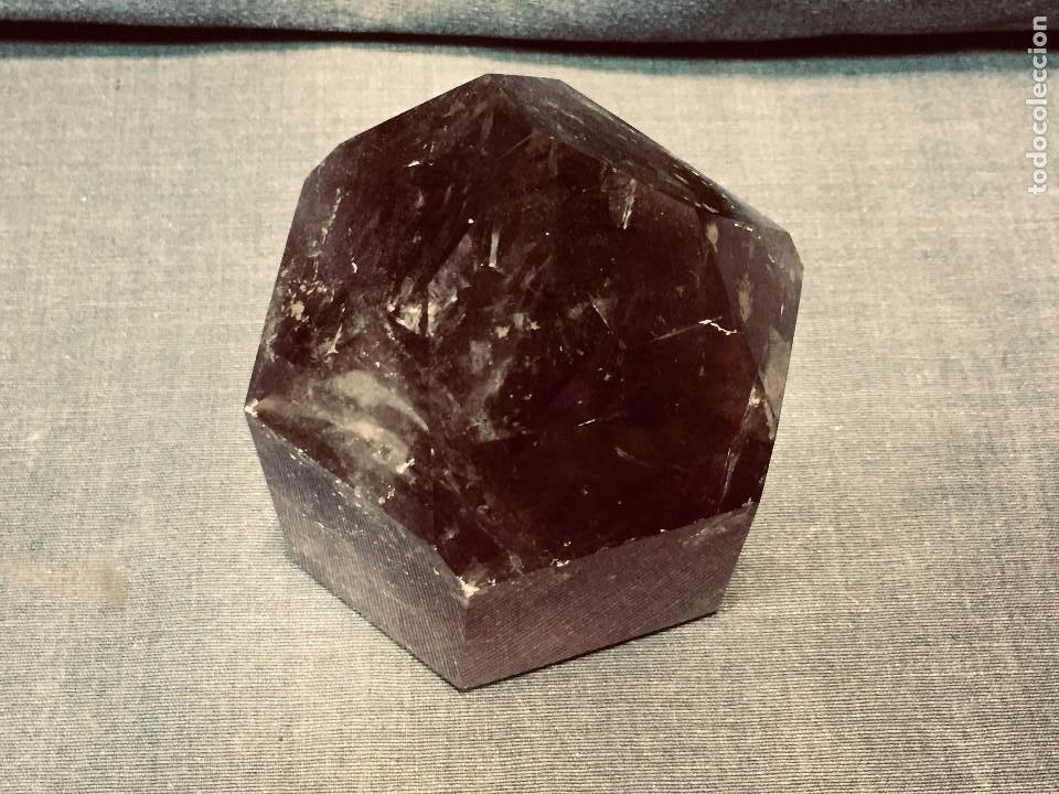 Coleccionismo de gemas: bloque piedra mineral facetado cuarzo amatista color violeta transparente 13 x 10 x 10 cm - Foto 13 - 204791855