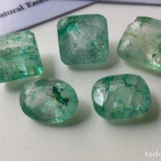 Coleccionismo de gemas: LOTE DE 5 ESMERALDAS NATURALES , CON 2 CERTIFICADOS. 50 QUILATES APROX TOTAL. Lote 205000190