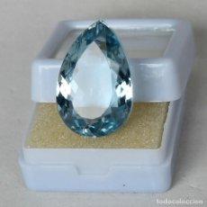 Coleccionismo de gemas: AGUAMARINA NATURAL CORTE PERA 24.00.CT + CERTIFICADO - TRASLUCIDA 20.40 X 13.75 X 10.50.MM. Lote 244889875