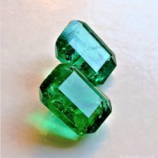Collectionnisme de gemmes: DOS ESMERALDAS NATURAL 15.00.CTS APROX + CERTIFICADO 13 X 10 X 7.MM. Lote 213465228