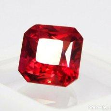 Coleccionismo de gemas: RUBI ROJO NATURAL 14.55.CT CORTE ESMERALDA + CERTIFICADO 14.55 X 13.20 X 12.10.MM. Lote 213583037