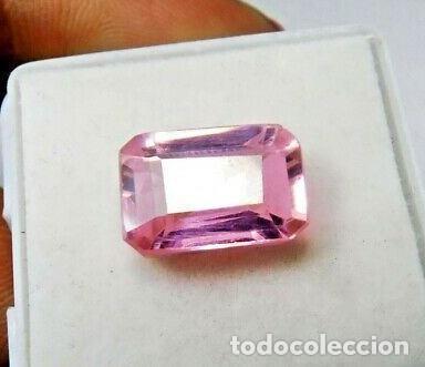 ESPODUMENA ROSA (KUNCITA) NATURAL DE BRASIL, SIN TRATAR. TALLA ESMERALDA CON 9.75 CT. (Coleccionismo - Mineralogía - Gemas)