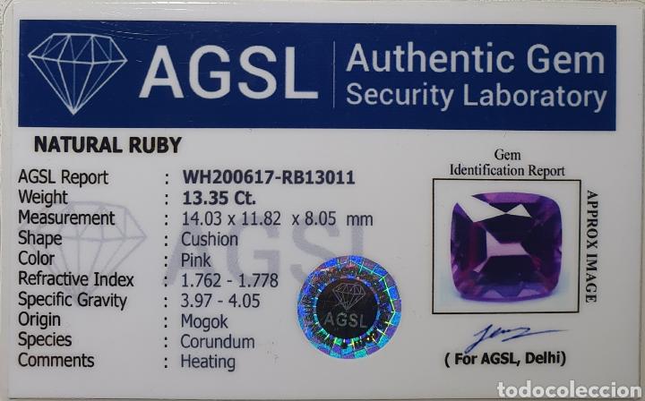 Coleccionismo de gemas: Excepcional Enorme Ruby Rosado purpura natural de 13.35 Quilates valorado en más de 1400 euros. - Foto 7 - 219686405