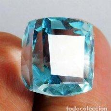 Collezionismo di gemme: PRECIOSA AGUAMARINA AZUL HYDRO NATURAL DE BRASIL CON TALLA CUADRADA Y 13.95 CT.. Lote 220560188