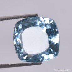 Colecionismo de pedras preciosas: AGUAMARINA NATURAL 27.25.CT + CERTIFICADO - TRASLUCIDA 14.20 X 14.20 X 9.15 (MM) CORTE CUADRADO. Lote 220947945