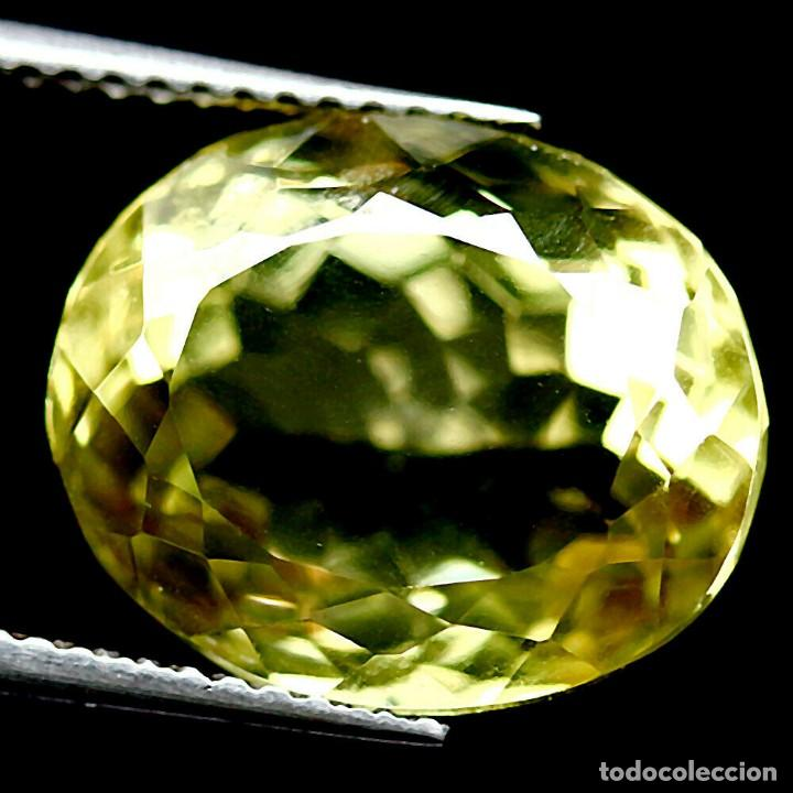 CUARZO AMARILLO LIMON 14,1 X 11,8 MM. (Coleccionismo - Mineralogía - Gemas)