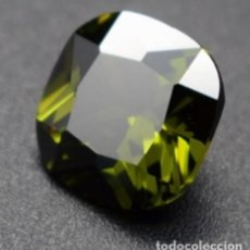 Coleccionismo de gemas: BONITO ZAFIRO CHATHAM VERDE OLIVA DE BRASIL TALLA COJÍN CON 12.07 CT.. Lote 230082185