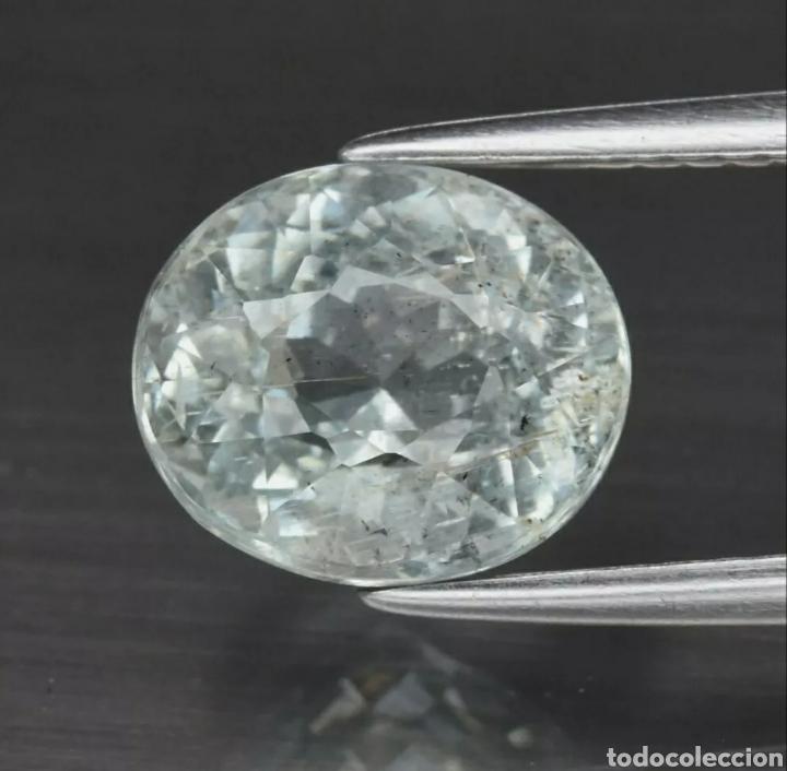 2.68CT 9X7.7MM AGUAMARINA AZUL NATURAL SIN CALEFACCIÓN OVALADA, BRASIL (Coleccionismo - Mineralogía - Gemas)