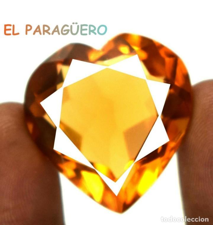 CITRINO CORAZON AMARILLO ANARANJADO DE 57,10 KILATS + CERTIFICADO MEDIDA 2,8X2,7X1,4 CENTIMETROS-P21 (Coleccionismo - Mineralogía - Gemas)