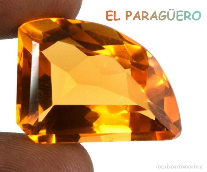CITRINO AMARILLO ANARANJADO DE 37,95 KILATS CON CERTIFICADO AGI MEDIDA 2,5X1,9X1,2 CENTIMETROS-P20 (Coleccionismo - Mineralogía - Gemas)