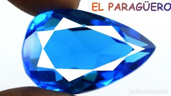 TOPACIO LAGRIMA AZUL DE 35,80 KILATES CERTIFICADO AGI MEDIDA 2,8X1,8X1,2 CENTIMETROS-T14 (Coleccionismo - Mineralogía - Gemas)