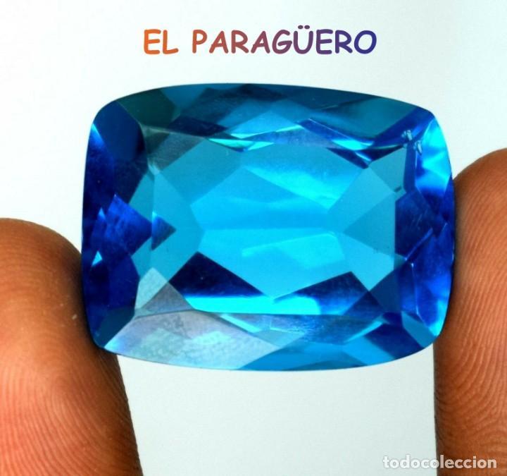 TOPACIO COJIN SWIS BLUE DE 56,60 KILATES CERTIFICADO AGI MEDIDA 2,8X2,1X1,4 CENTIMETROS-T16 (Coleccionismo - Mineralogía - Gemas)