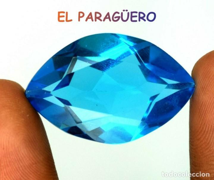 TOPACIO ROMBO SWIS BLUE DE 48,65 KILATES CERTIFICADO AGI MEDIDA 3,4X2,2X1,2 CENTIMETROS-T19 (Coleccionismo - Mineralogía - Gemas)
