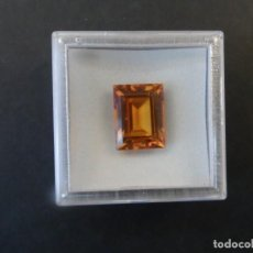 Collezionismo di gemme: TOPACIO PAPARACHA RECONSTITUIDA TALLA ESMERALDA. MED.17 X 14 MM. PESO 16,35 CTS. SUIZA. AÑOS 80-90. Lote 236101050