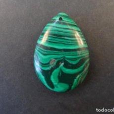 Coleccionismo de gemas: MALAQUITA TALLA CABUJON BOBLE PERA . MEDIDA 35 X 23 MM. PESO 46,40 CTS. BRASIL. SIGLO XX. Lote 236219635