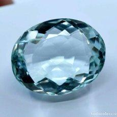 Coleccionismo de gemas: AGUAMARINA NATURAL OVAL 26.95.CT + CERTIFICADO - TRASLUCIDA 20.25 X 16.30 X 11.70 (MM). Lote 236414155