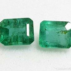 Coleccionismo de gemas: PAR DE ESMERALDAS 1.34 CT DE ZAMBIA. Lote 266762658