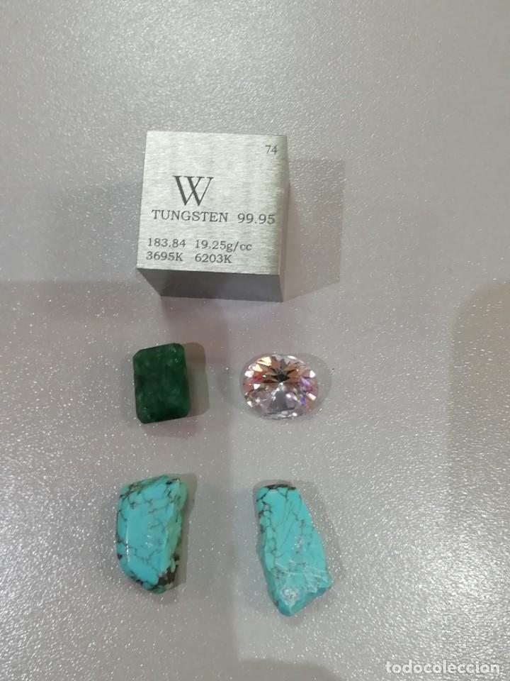 LOTE COLECCION MINERALES Y GEMAS - CIRCONITA, ESMERALDA, TUNGSTENO Y TURQUESA (Coleccionismo - Mineralogía - Gemas)