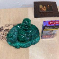 Coleccionismo de gemas: MAGNIFICA FIGURA DE MALAQUITA BUDHA. Lote 271826078