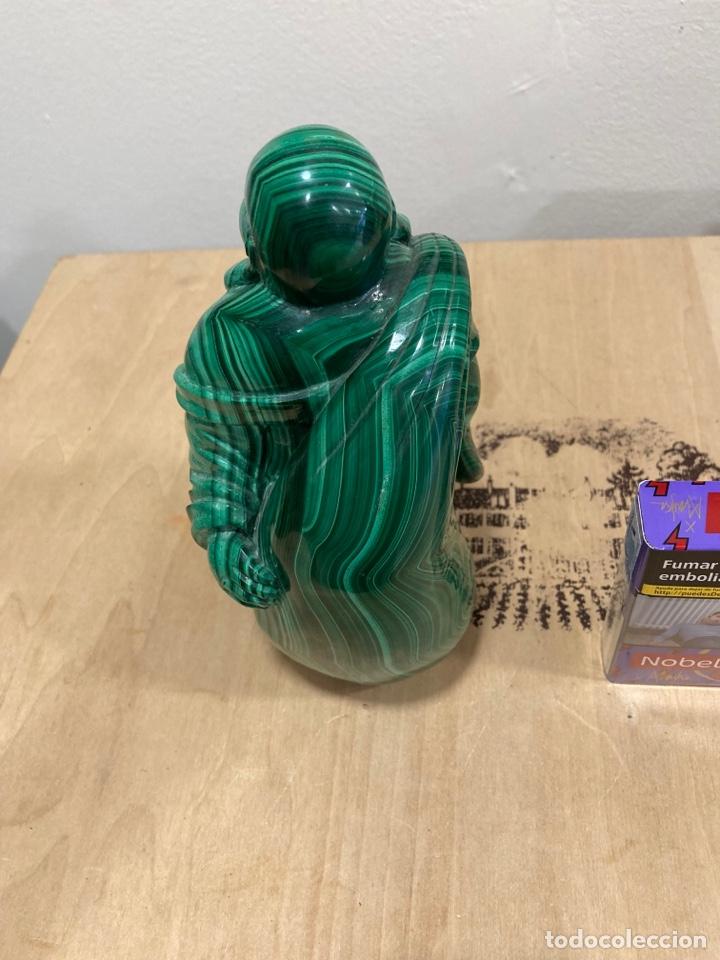 Coleccionismo de gemas: Magnifica figura de malaquita, budha, gran tamaño - Foto 5 - 271827658