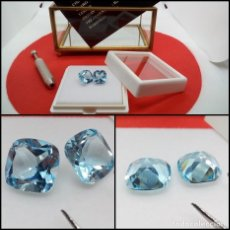 Coleccionismo de gemas: PAREJA DE TOPACIOS AZUL TALLA COJÓN 10.32 CT.. Lote 280114773