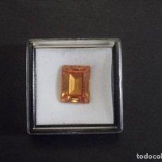 Colecionismo de pedras preciosas: TOPACIO PATPARACHA RECONSTITUIDO TALLA ESMERALDA. MED.15 X 11 MM. PESO 16,55 CTS. SUIZA. GOLPE. Lote 285319313