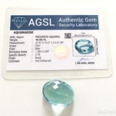 Colecionismo de pedras preciosas: AGUAMARINA FACETADAS 46.85 QUILATES + CERTIFICADO AGSL - MEDIDAS 27.62 X 15.17 X 13.33MM. Lote 286788388