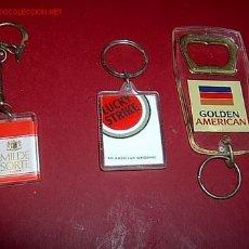 Coleccionismo de llaveros: LOTE DE 3 LLAVEROS PUBLICITARIOS DE TABACO APROX 1970/80 - EXCELENTES, CORREO 1€. Lote 8947051